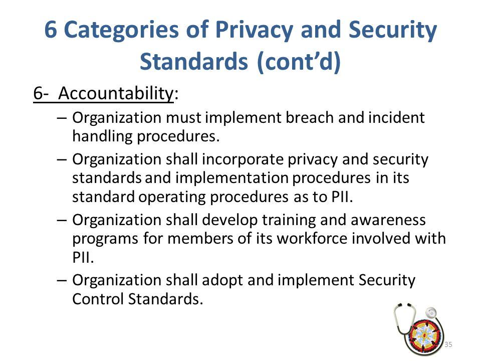 6 Categories of Privacy and Security Standards (cont'd) 6- Accountability: – Organization must implement breach and incident handling procedures. – Or