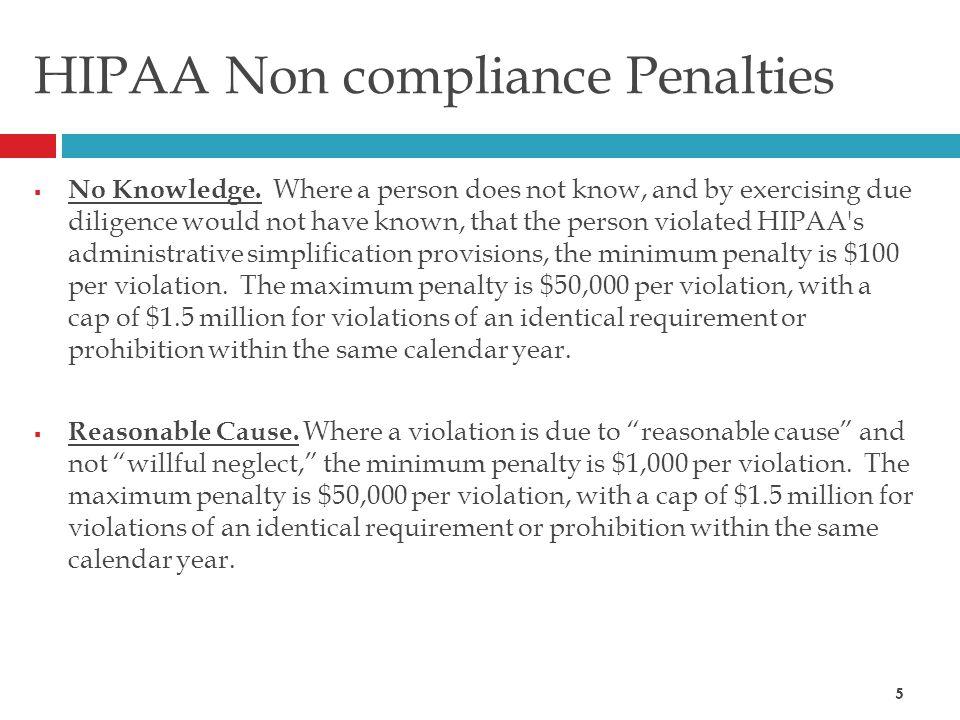 HIPAA Non compliance Penalties  No Knowledge.