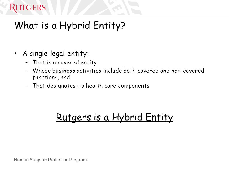 Human Subjects Protection Program What is a Hybrid Entity.