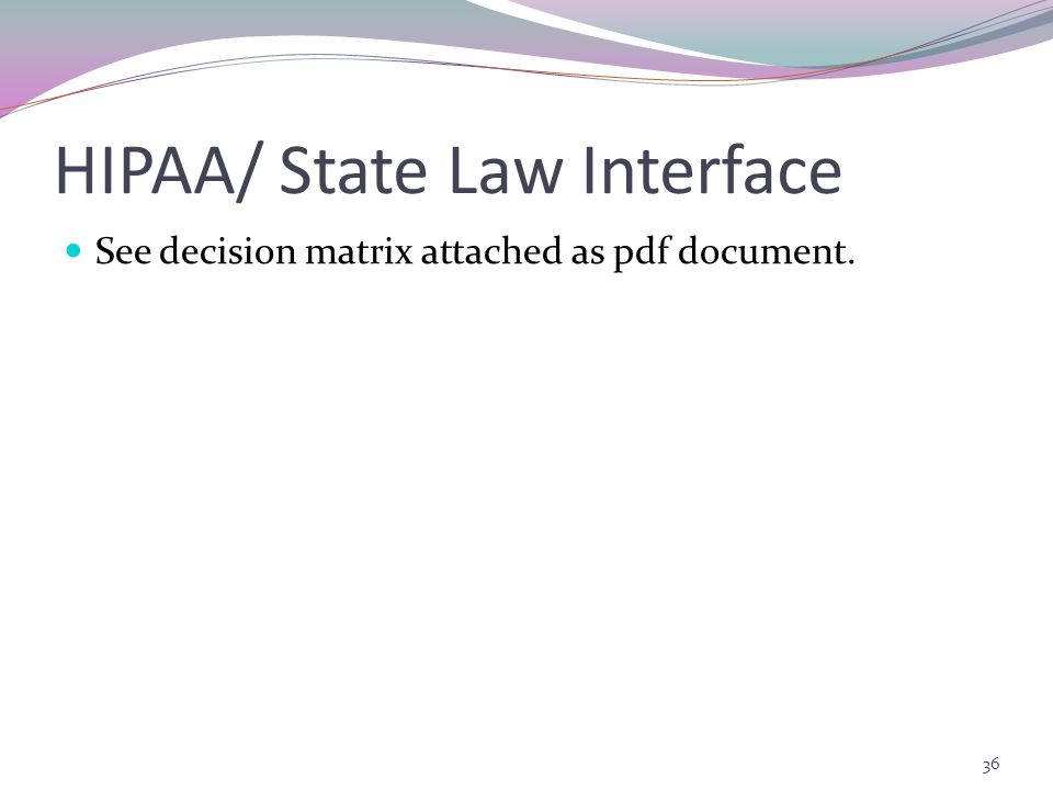 HIPAA/ State Law Interface See decision matrix attached as pdf document. 36