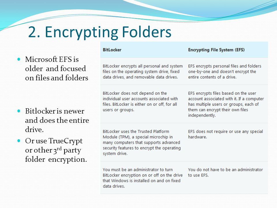 2. Encrypting Folders Microsoft EFS is older and focused on files and folders Bitlocker is newer and does the entire drive. Or use TrueCrypt or other