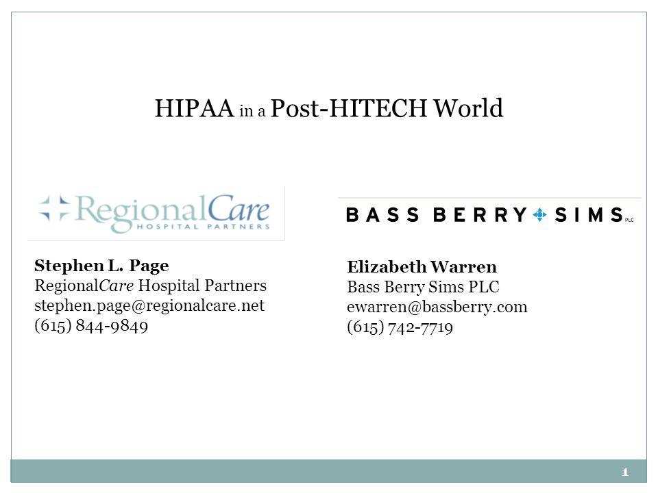 Stephen L. Page RegionalCare Hospital Partners stephen.page@regionalcare.net (615) 844-9849 Elizabeth Warren Bass Berry Sims PLC ewarren@bassberry.com