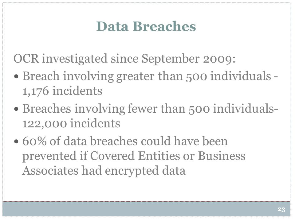 23 Data Breaches OCR investigated since September 2009: Breach involving greater than 500 individuals - 1,176 incidents Breaches involving fewer than