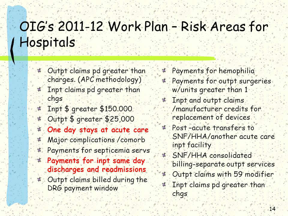OIG's 2011-12 Work Plan – Risk Areas for Hospitals Outpt claims pd greater than charges.