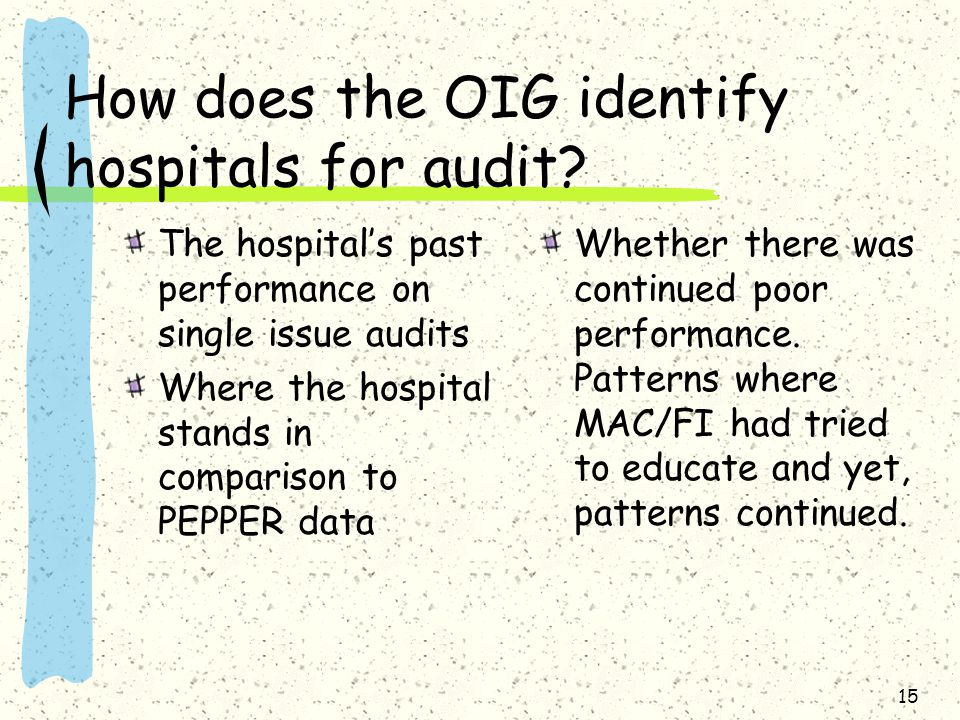 How does the OIG identify hospitals for audit.