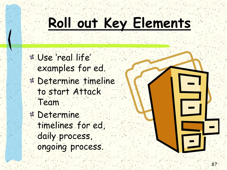 87 Roll out Key Elements Use 'real life' examples for ed.