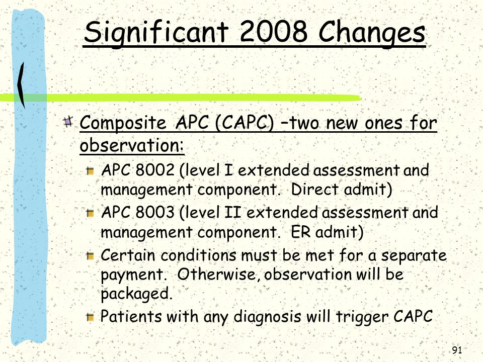 91 Significant 2008 Changes Composite APC (CAPC) –two new ones for observation: APC 8002 (level I extended assessment and management component.