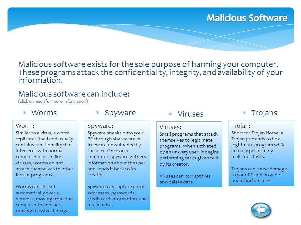 Malicious software exists for the sole purpose of harming your computer. These programs attack the confidentiality, integrity, and availability of you