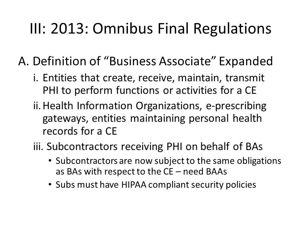 III: 2013: Omnibus Final Regulations A.