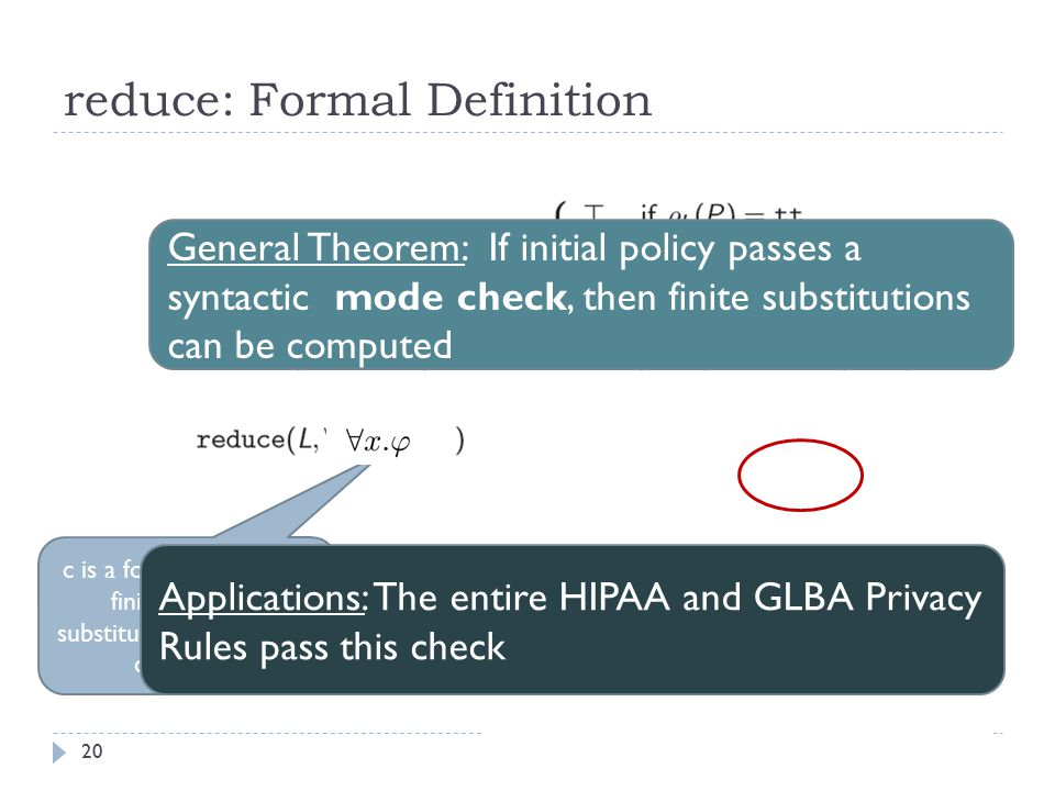 20 reduce: Formal Definition c is a formula for which finite satisfying substitutions of x can be computed General Theorem: If initial policy passes a