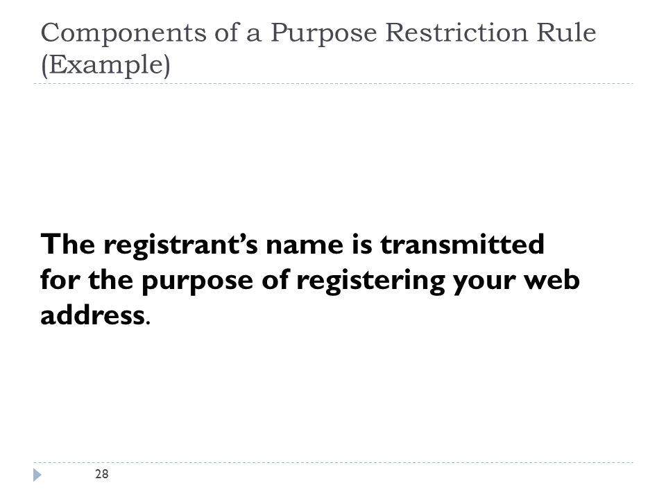 28 Components of a Purpose Restriction Rule (Example) The registrant's name is transmitted for the purpose of registering your web address.