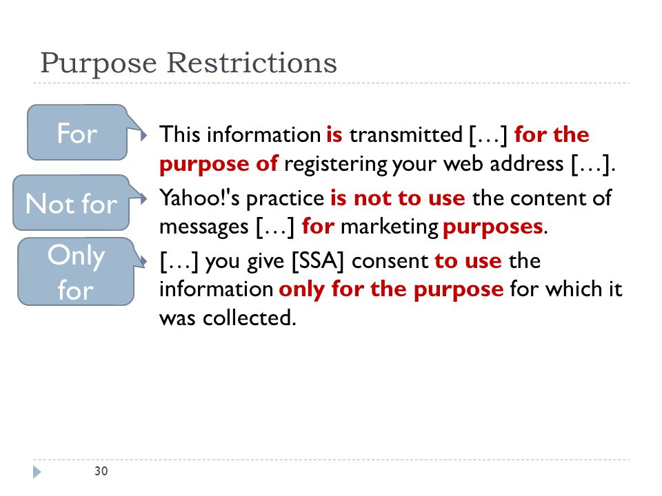30 Purpose Restrictions  This information is transmitted […] for the purpose of registering your web address […].