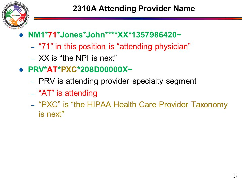2310 Additional Providers 2310B NM1*72*1*Meyers*Jane*****XX*1357986420~ – 72 is operating physician – XX is the NPI is next – Is only used if there is a surgical procedure on the claim 2310C NM1*ZZ*1*Doe*John*A***XX*1357986420~ – ZZ is mutually defined to indicate other operating physician – Usually not needed, usually only one surgeon 2310D NM1*82*1*Doe*Jane*C***XX*1357986420~ – 82 is rendering provider 38