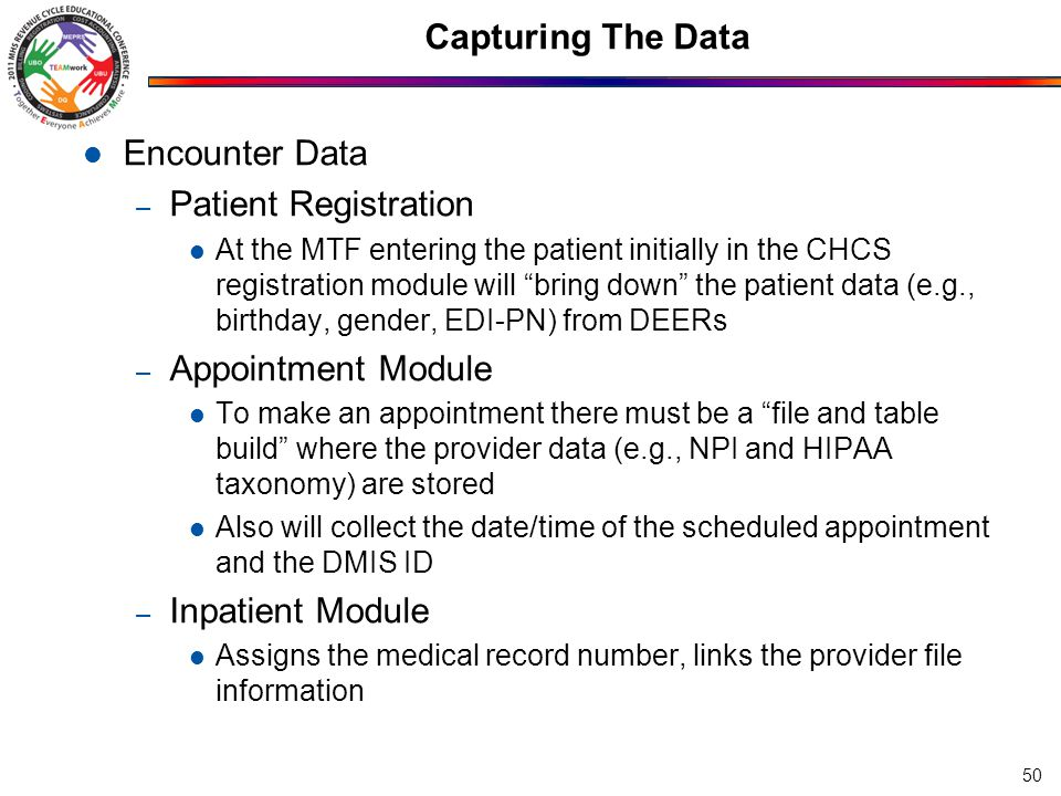 Capturing The Data Encounter Data – Ambulatory Data Module Where outpatient coded data are collected – Can come from AHLTA or be entered directly in ADM – Coding Compliance Editor Where all inpatient coded data are entered Patient Demographics – DEERS Insurance Information – DEERS Standard Insurance Tables/Other Health Insurance – PATCAT – patient categories 51