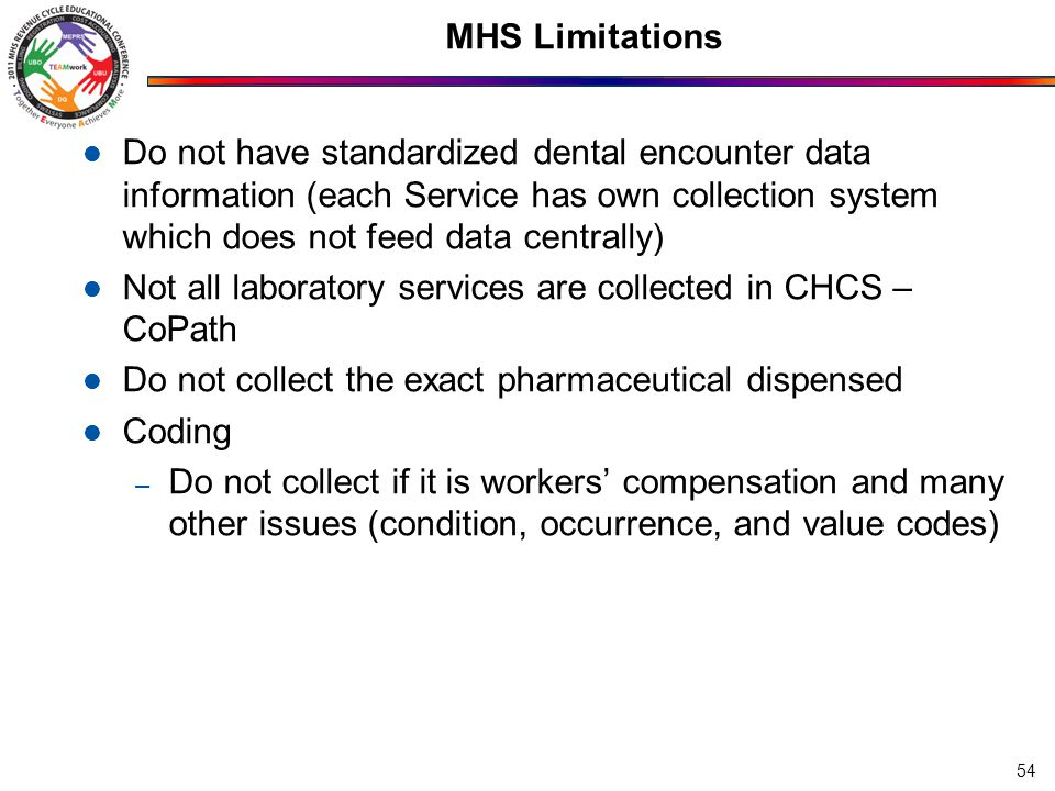 MHS Limitations Poor understanding of assignment of PATCATs – BASED ON ELIGIBILITY OF THAT CARE ON THAT DATE No incident to concept – encounters are collected based on the individual who did the service, not in the name of the physician – Otherwise, physician assistants and nurse practitioners could not treat new problems – they could only see follow-up patients and do services already ordered by physicians Possible suboptimal pursuit of Other Health Insurance In some cases, limited staffing to do accounts receivable 55