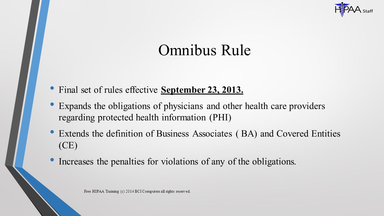 Omnibus Rule Final set of rules effective September 23, 2013.