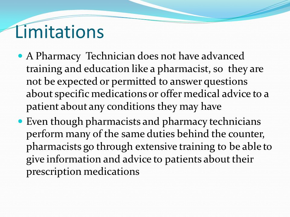 12 limitations - Pharmacist Duties