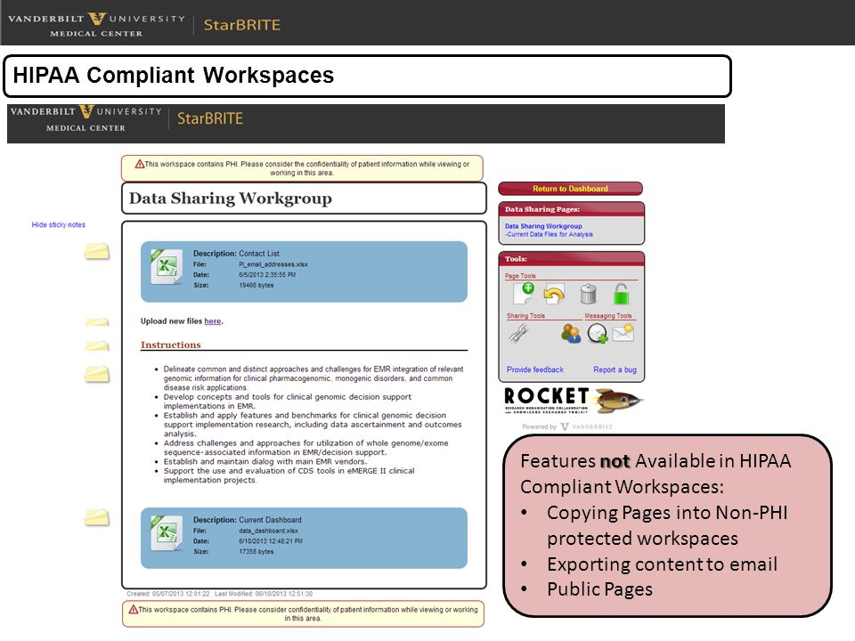 HIPAA Compliant Workspaces not Features not Available in HIPAA Compliant Workspaces: Copying Pages into Non-PHI protected workspaces Exporting content to email Public Pages