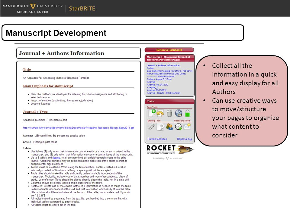 Manuscript Development Collect all the information in a quick and easy display for all Authors Can use creative ways to move/structure your pages to organize what content to consider