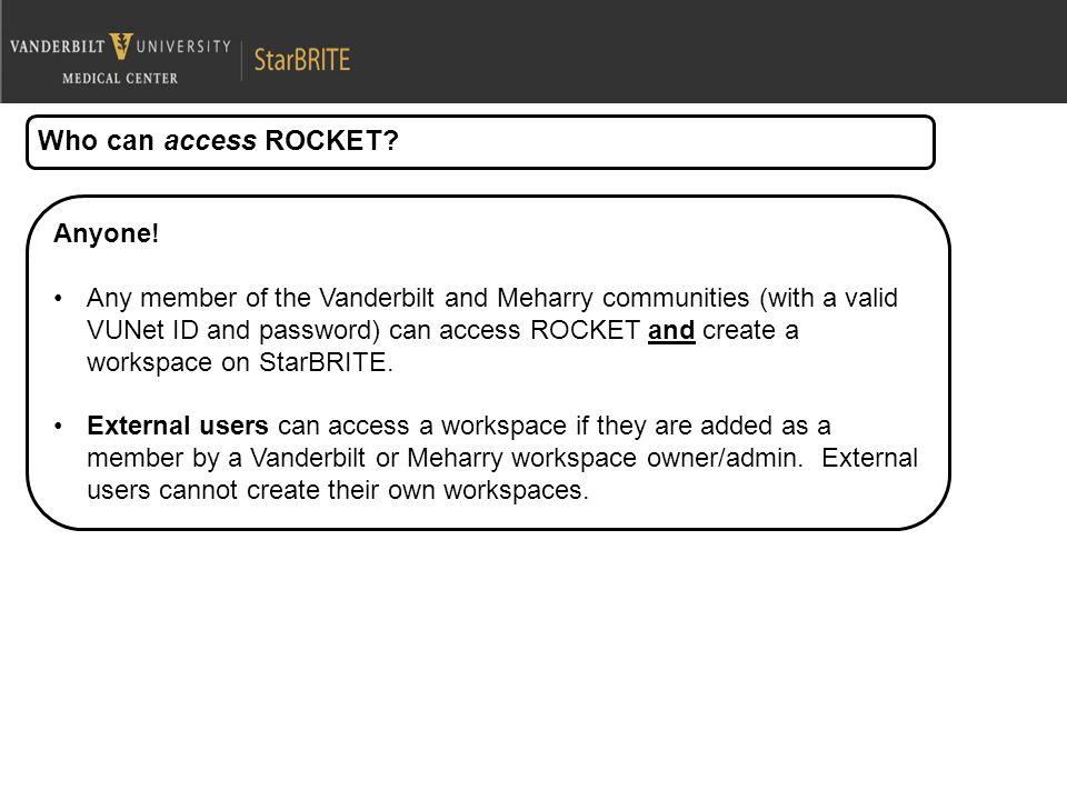 Who can access ROCKET. Anyone.