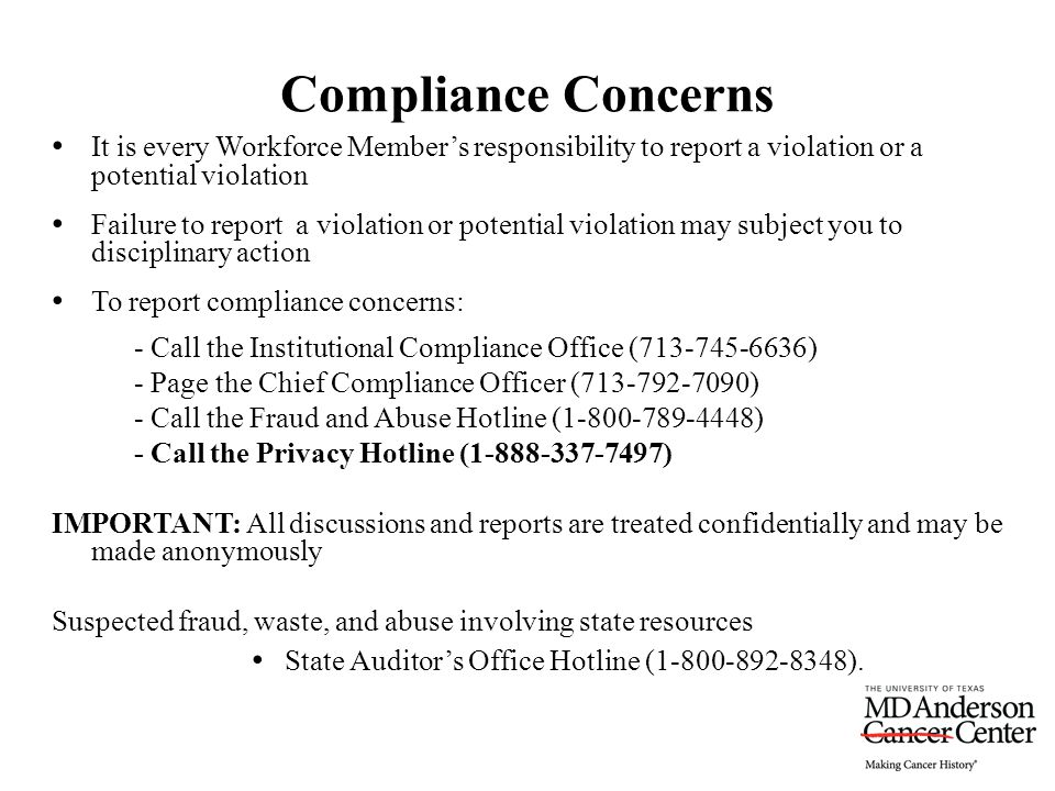 It is every Workforce Member's responsibility to report a violation or a potential violation Failure to report a violation or potential violation may