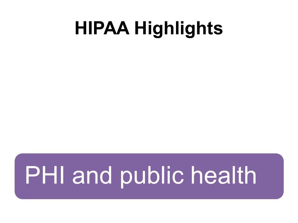 HIPAA Highlights Hybrid entitiesDealing with breachesPHI and public health