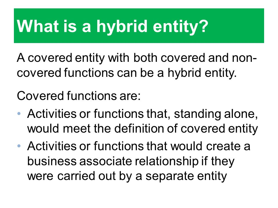 What is a hybrid entity.
