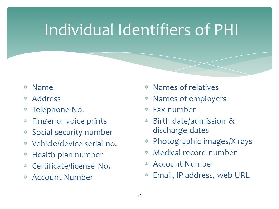 Individual Identifiers of PHI 13  Name  Address  Telephone No.  Finger or voice prints  Social security number  Vehicle/device serial no.  Heal
