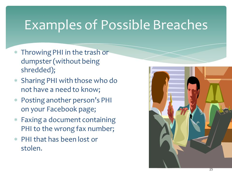 Examples of Possible Breaches  Throwing PHI in the trash or dumpster (without being shredded);  Sharing PHI with those who do not have a need to kno