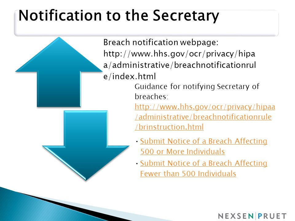Breach notification webpage: http://www.hhs.gov/ocr/privacy/hipa a/administrative/breachnotificationrul e/index.html Guidance for notifying Secretary of breaches: http://www.hhs.gov/ocr/privacy/hipa a/administrative/breachnotificationrul e/brinstruction.html http://www.hhs.gov/ocr/privacy/hipa a/administrative/breachnotificationrul e/brinstruction.html Submit Notice of a Breach Affecting 500 or More Individuals Submit Notice of a Breach Affecting 500 or More Individuals Submit Notice of a Breach Affecting Fewer than 500 IndividualsSubmit Notice of a Breach Affecting Fewer than 500 Individuals Notification to the Secretary