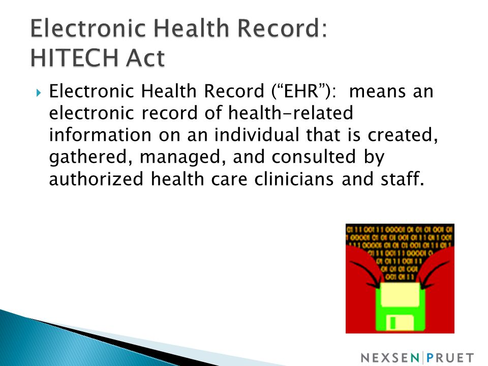  Electronic Health Record ( EHR ): means an electronic record of health-related information on an individual that is created, gathered, managed, and consulted by authorized health care clinicians and staff.