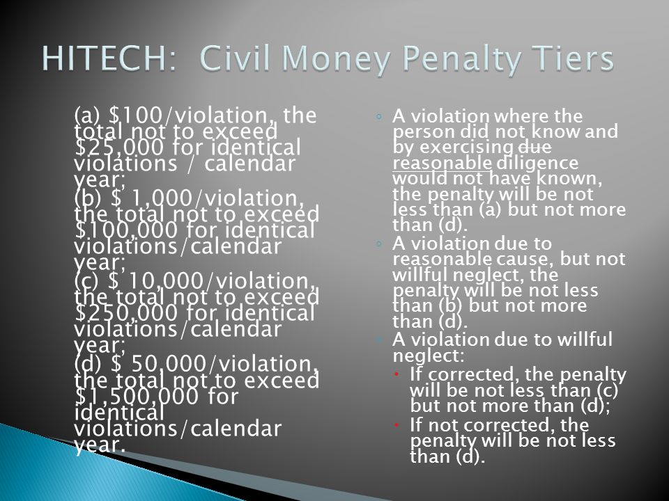 (a) $100/violation, the total not to exceed $25,000 for identical violations / calendar year; (b) $ 1,000/violation, the total not to exceed $100,000 for identical violations/calendar year; (c) $ 10,000/violation, the total not to exceed $250,000 for identical violations/calendar year; (d) $ 50,000/violation, the total not to exceed $1,500,000 for identical violations/calendar year.
