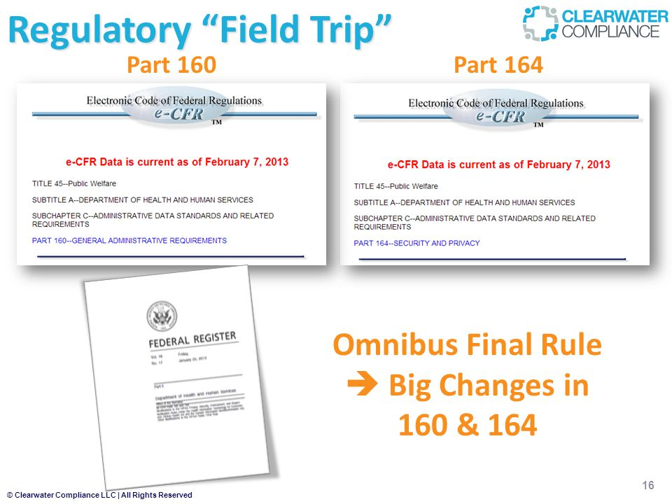 © Clearwater Compliance LLC | All Rights Reserved 16 Regulatory Field Trip Part 164Part 160 Omnibus Final Rule  Big Changes in 160 & 164