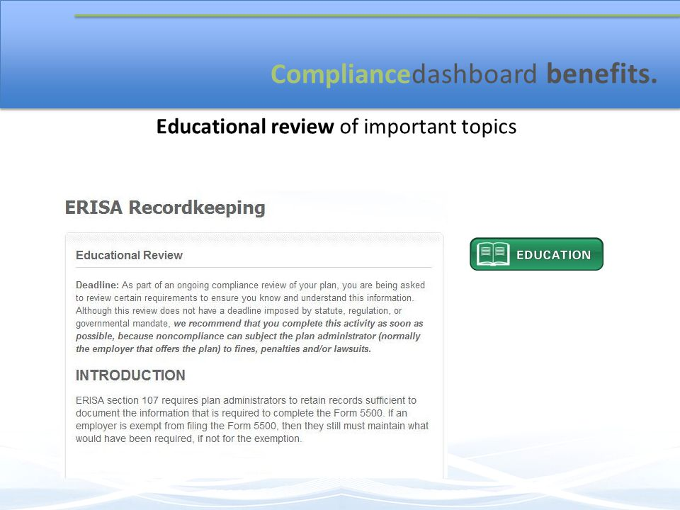 Compliancedashboard benefits. Educational review of important topics