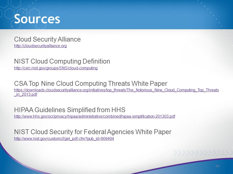 Sources Cloud Security Alliance http://cloudsecurityalliance.org NIST Cloud Computing Definition http://csrc.nist.gov/groups/SNS/cloud-computing CSA Top Nine Cloud Computing Threats White Paper https://downloads.cloudsecurityalliance.org/initiatives/top_threats/The_Notorious_Nine_Cloud_Computing_Top_Threats _in_2013.pdf HIPAA Guidelines Simplified from HHS http://www.hhs.gov/ocr/privacy/hipaa/administrative/combined/hipaa-simplification-201303.pdf NIST Cloud Security for Federal Agencies White Paper http://www.nist.gov/customcf/get_pdf.cfm?pub_id=909494 14