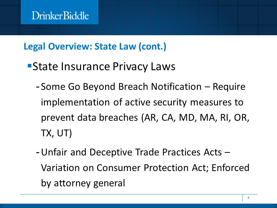 Legal Overview: State Law (cont.)  State Insurance Privacy Laws - Some Go Beyond Breach Notification – Require implementation of active security measures to prevent data breaches (AR, CA, MD, MA, RI, OR, TX, UT) - Unfair and Deceptive Trade Practices Acts – Variation on Consumer Protection Act; Enforced by attorney general 9