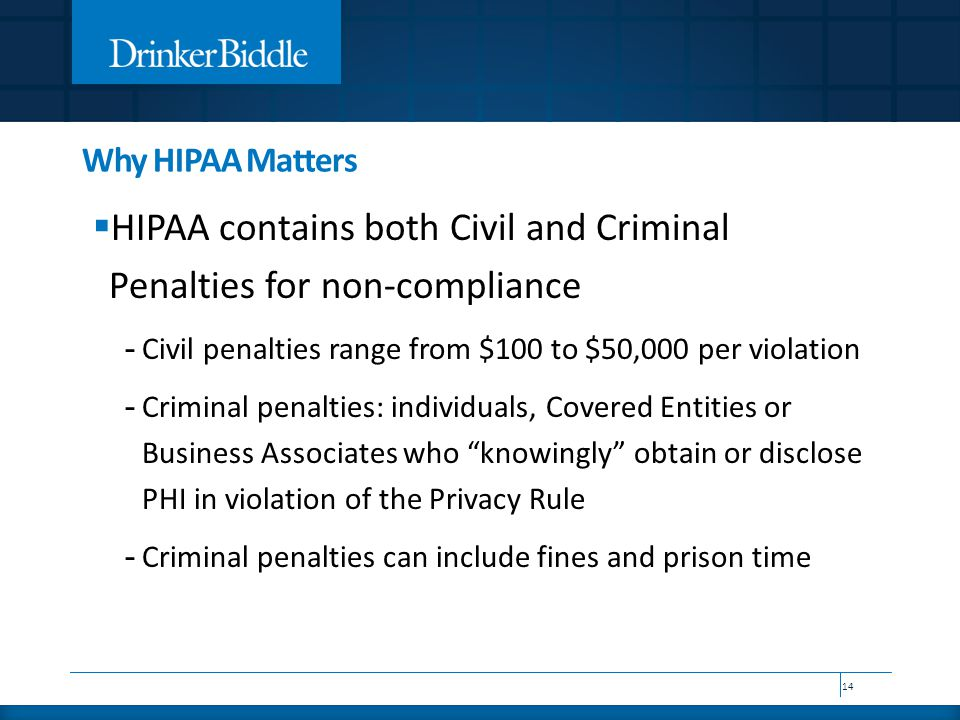 Why HIPAA Matters  HIPAA contains both Civil and Criminal Penalties for non-compliance - Civil penalties range from $100 to $50,000 per violation - Criminal penalties: individuals, Covered Entities or Business Associates who knowingly obtain or disclose PHI in violation of the Privacy Rule - Criminal penalties can include fines and prison time 14