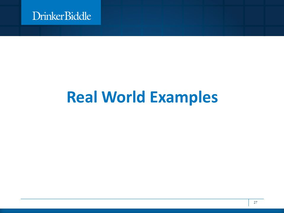 Real World Examples 27