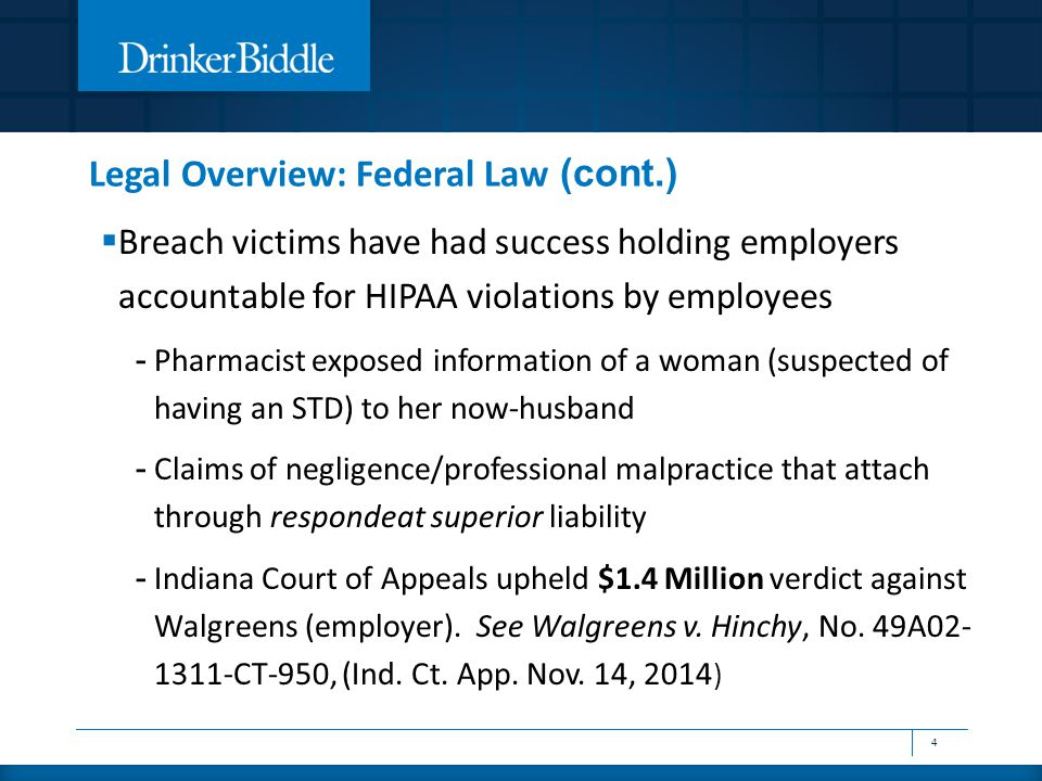  Breach victims have had success holding employers accountable for HIPAA violations by employees - Pharmacist exposed information of a woman (suspect