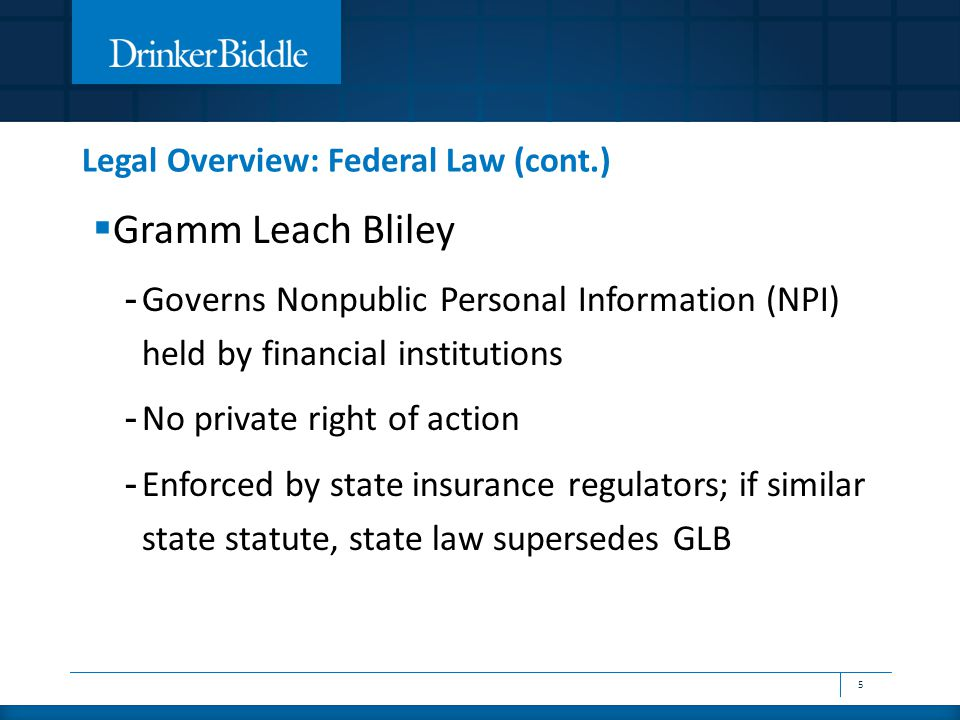  Gramm Leach Bliley - Governs Nonpublic Personal Information (NPI) held by financial institutions - No private right of action - Enforced by state insurance regulators; if similar state statute, state law supersedes GLB 5