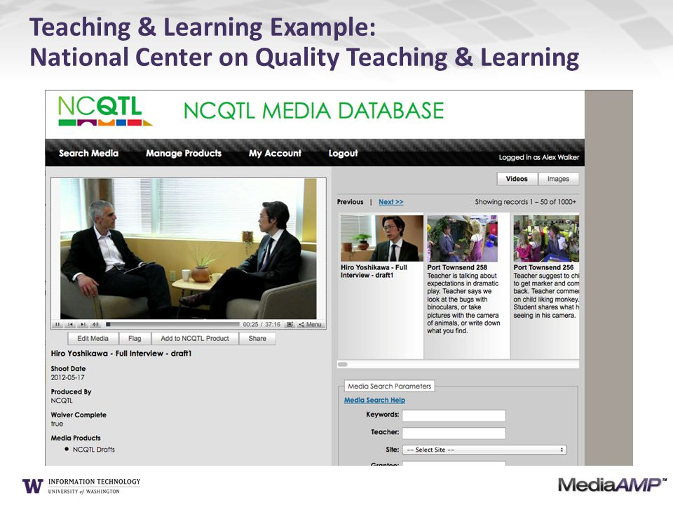 Teaching & Learning Example: National Center on Quality Teaching & Learning