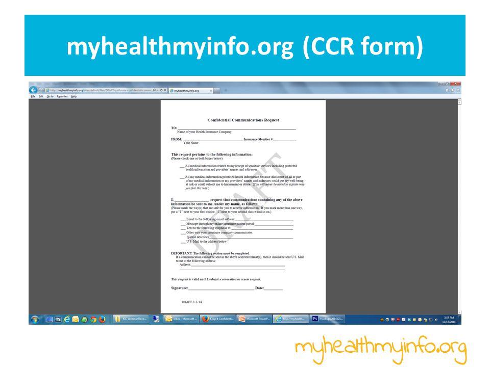 myhealthmyinfo.org (CCR form)