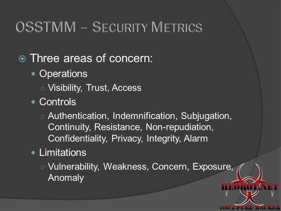  Three areas of concern: Operations ○ Visibility, Trust, Access Controls ○ Authentication, Indemnification, Subjugation, Continuity, Resistance, Non-repudiation, Confidentiality, Privacy, Integrity, Alarm Limitations ○ Vulnerability, Weakness, Concern, Exposure, Anomaly