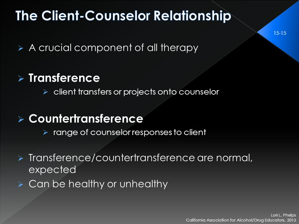  A crucial component of all therapy  Transference  client transfers or projects onto counselor  Countertransference  range of counselor responses to client  Transference/countertransference are normal, expected  Can be healthy or unhealthy Lori L.