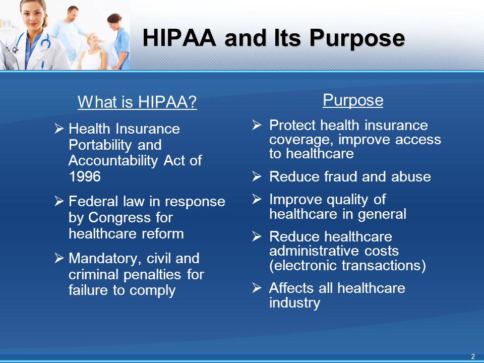 and Its Purpose HIPAA and Its Purpose What is HIPAA.