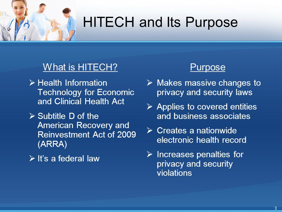 HITECH and Its Purpose What is HITECH?  Health Information Technology for Economic and Clinical Health Act  Subtitle D of the American Recovery and