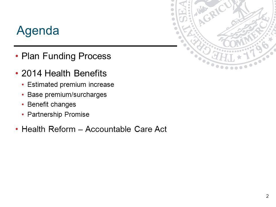 Agenda Plan Funding Process 2014 Health Benefits Estimated premium increase Base premium/surcharges Benefit changes Partnership Promise Health Reform – Accountable Care Act 2