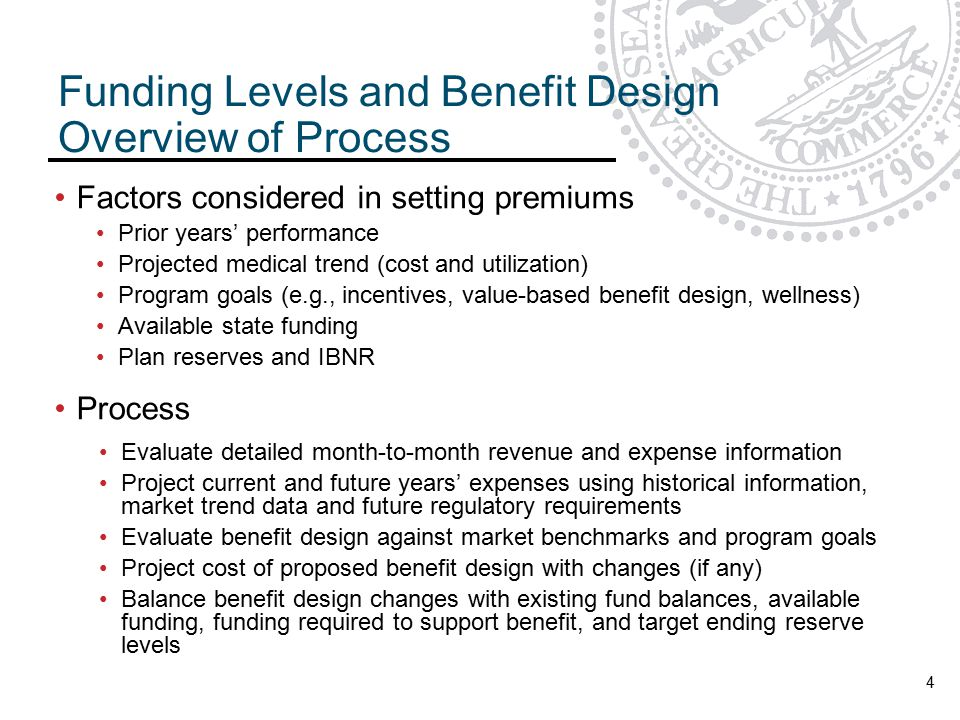Funding Levels and Benefit Design Overview of Process 4 Factors considered in setting premiums Prior years' performance Projected medical trend (cost and utilization) Program goals (e.g., incentives, value-based benefit design, wellness) Available state funding Plan reserves and IBNR Process Evaluate detailed month-to-month revenue and expense information Project current and future years' expenses using historical information, market trend data and future regulatory requirements Evaluate benefit design against market benchmarks and program goals Project cost of proposed benefit design with changes (if any) Balance benefit design changes with existing fund balances, available funding, funding required to support benefit, and target ending reserve levels