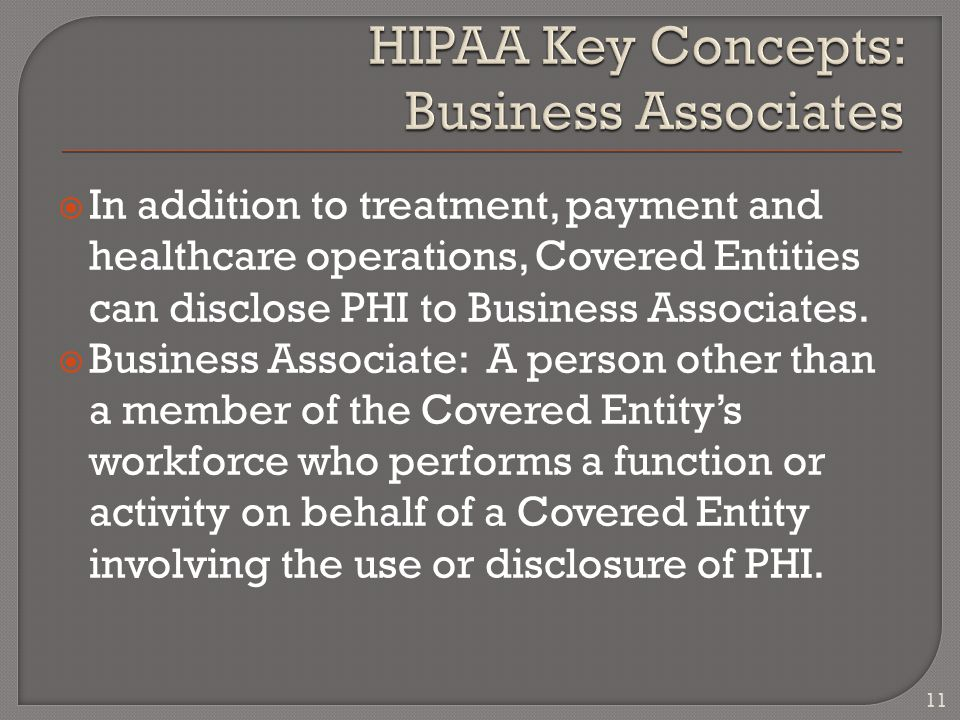  In addition to treatment, payment and healthcare operations, Covered Entities can disclose PHI to Business Associates.