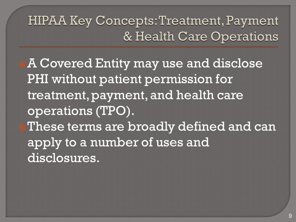  A Covered Entity may use and disclose PHI without patient permission for treatment, payment, and health care operations (TPO).